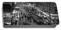 Bronx Fordham Road At Night Portable Battery Charger by Underwood Archives