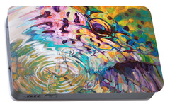 Brown Trout And Mayfly - Abstract Fly Fishing Art  Portable Battery Charger by Savlen Art