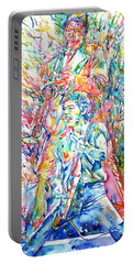 Bruce Springsteen And Clarence Clemons Watercolor Portrait Portable Battery Charger by Fabrizio Cassetta