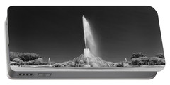 Buckingham Fountain Panorama Black And White Portable Battery Charger by Christopher Arndt