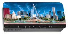 Buckingham Fountain Skyline Panorama Poster Portable Battery Charger by Christopher Arndt