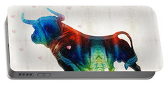 Bull Art - Love A Bull 2 - By Sharon Cummings Portable Battery Charger by Sharon Cummings