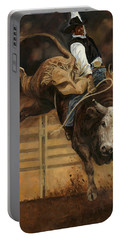 Bull Riding 1 Portable Battery Charger by Don  Langeneckert