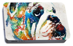 Bulldog Pop Art - How Bout A Kiss - By Sharon Cummings Portable Battery Charger by Sharon Cummings