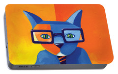 Business Cat Portable Battery Charger by Mike Lawrence