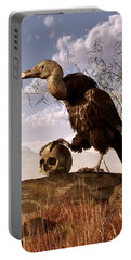 Buzzard With A Skull Portable Battery Charger by Daniel Eskridge
