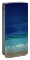 Calm Waters- Abstract Landscape Painting Portable Battery Charger by Linda Woods