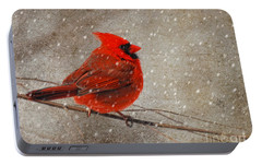 Cardinal In Snow Portable Battery Charger by Lois Bryan