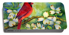 Cardinal On Dogwood Portable Battery Charger by Hailey E Herrera