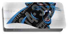 Carolina Panthers Football Team Retro Logo Recycled North Carolina License Plate Art Portable Battery Charger by Design Turnpike