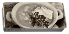 Cauliflower Soup Sepia Tone Portable Battery Charger by Iris Richardson