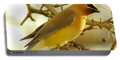 Cedar Waxwing Portable Battery Charger by Robert Frederick