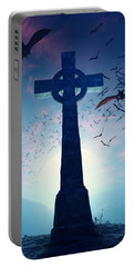 Celtic Cross With Swarm Of Bats Portable Battery Charger by Johan Swanepoel