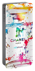 Chanel Number Five Paint Splatter Portable Battery Charger by Dan Sproul