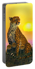 Cheetah And Cubs Portable Battery Charger by MGL Studio - Chris Hiett