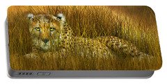Cheetah - In The Wild Grass Portable Battery Charger by Carol Cavalaris