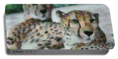 Cheetah Portrait Portable Battery Charger by Dan Sproul