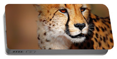 Cheetah Portrait Portable Battery Charger by Johan Swanepoel