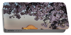 Cherry Blossom Tree With A Memorial Portable Battery Charger by Panoramic Images
