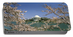 Cherry Blossom With Memorial Portable Battery Charger by Panoramic Images