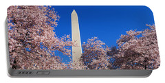Cherry Blossoms Washington Monument Portable Battery Charger by Panoramic Images