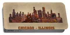 Chicago City Skyline Rusty Metal Shape On Canvas Portable Battery Charger by Design Turnpike