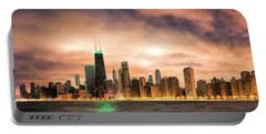 Chicago Gotham City Skyline Panorama Portable Battery Charger by Christopher Arndt