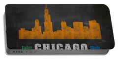 Chicago Skyline Chalkboard Chalk Art Portable Battery Charger by Design Turnpike