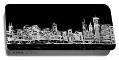 Chicago Skyline Fractal Black And White Portable Battery Charger by Adam Romanowicz