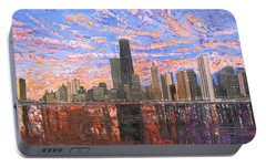 Chicago Skyline - Lake Michigan Portable Battery Charger by Mike Rabe