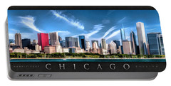 Chicago Skyline Panorama Poster Portable Battery Charger by Christopher Arndt