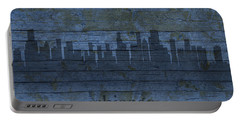 Chicago Skyline Silhouette Distressed On Worn Peeling Wood Portable Battery Charger by Design Turnpike