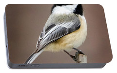 Chickadee Square Portable Battery Charger by Bill Wakeley