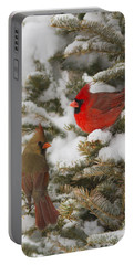 Christmas Card With Cardinals Portable Battery Charger by Mircea Costina Photography