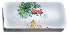 Christmas Mice And Robins Portable Battery Charger by Diane Matthes