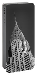 Chrysler Building Bw Portable Battery Charger by Susan Candelario