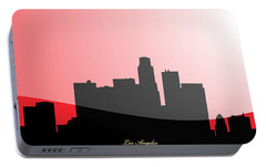 Cityscapes- Los Angeles Skyline In Black On Red Portable Battery Charger by Serge Averbukh