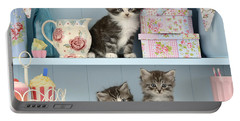 Baking Shelf Kittens Portable Battery Charger by Greg Cuddiford