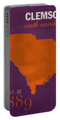 Clemson University Tigers College Town South Carolina State Map Poster Series No 030 Portable Battery Charger by Design Turnpike