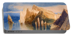 Cliffs On The North East Side Of Point Portable Battery Charger by John Sell Cotman