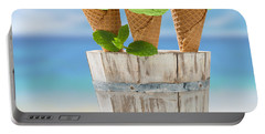 Close Up Ice Creams Portable Battery Charger by Amanda Elwell