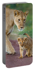 Close-up Of A Lioness And Her Cub Portable Battery Charger by Panoramic Images