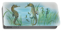 Close-up Of A Male Sea Horse Expelling Young Sea Horses Portable Battery Charger by English School