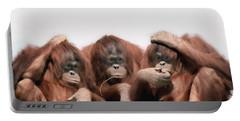 Close-up Of Three Orangutans Portable Battery Charger by Panoramic Images