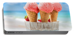 Close Up Strawberry Ice Creams Portable Battery Charger by Amanda Elwell