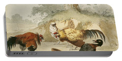 Cocks Fighting Portable Battery Charger by Melchior de Hondecoeter