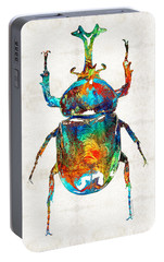 Colorful Beetle Art - Scarab Beauty - By Sharon Cummings Portable Battery Charger by Sharon Cummings