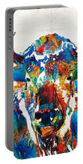 Colorful Buffalo Art - Sacred - By Sharon Cummings Portable Battery Charger by Sharon Cummings