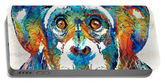 Colorful Chimp Art - Monkey Business - By Sharon Cummings Portable Battery Charger by Sharon Cummings