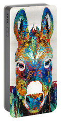 Colorful Donkey Art - Mr. Personality - By Sharon Cummings Portable Battery Charger by Sharon Cummings